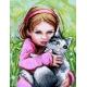 Haft krzyżykowy - do wyboru: kanwa z nadrukiem, nici Ariadna/DMC, wzór graficzny - Dziewczynka z kotkiem (No 7138)