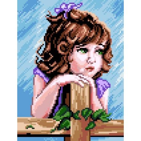 Haft krzyżykowy - do wyboru: kanwa z nadrukiem, nici Ariadna/DMC, wzór graficzny - Dziewczynka (No 7141)