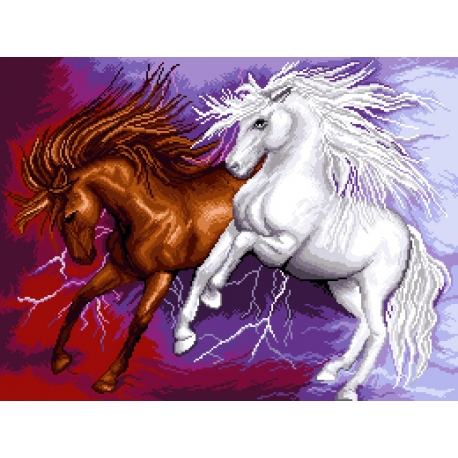 Haft krzyżykowy - do wyboru: kanwa z nadrukiem, nici Ariadna/DMC, wzór graficzny - Dzikie konie (No 7145) VI