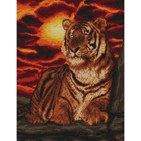 Haft krzyżykowy - do wyboru: kanwa z nadrukiem, nici Ariadna/DMC, wzór graficzny - Tygrys (No 94063)