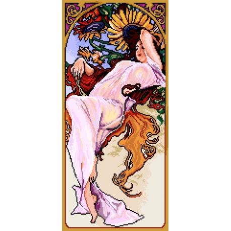 Haft krzyżykowy - do wyboru: kanwa z nadrukiem, nici Ariadna/DMC, wzór graficzny - Alfons Mucha - lato (No 7161)
