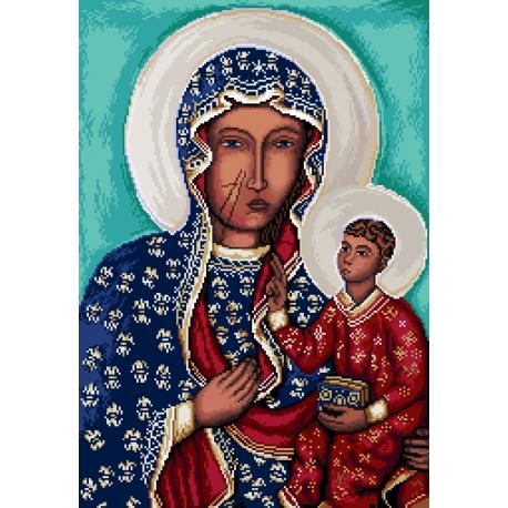 Haft krzyżykowy - do wyboru: kanwa z nadrukiem, nici Ariadna/DMC, wzór graficzny - Matka Boska Częstochowska (No 7154) VI