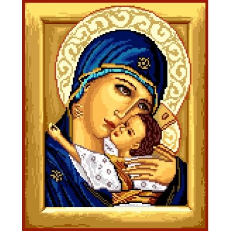 Haft krzyżykowy - wybór: kanwa z nadrukiem, nici Ariadna/DMC, wzór graficzny - Ikona - Matka Boska z dzieciątkiem VI (No 7156)