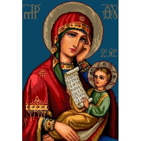 Haft krzyżykowy - wybór: kanwa z nadrukiem, nici Ariadna/DMC, wzór graficzny - Ikona - Matka Boska z dzieciątkiem (No 7157) VI