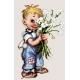 Haft krzyżykowy - do wyboru: kanwa z nadrukiem, nici Aridna/DMC, wzór graficzny Chłopiec z kwiatami (No 7164)