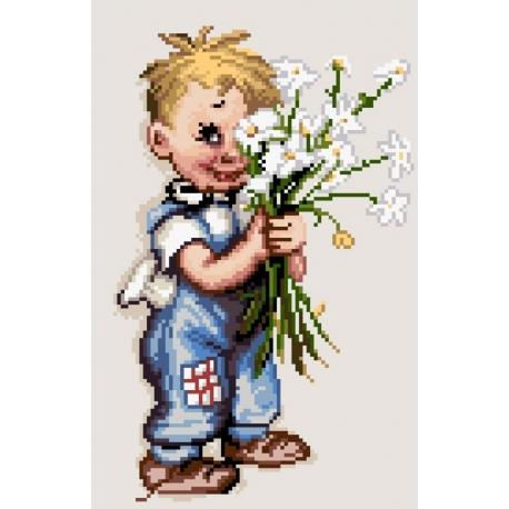 Haft krzyżykowy - do wyboru: kanwa z nadrukiem, nici Ariadna/DMC, wzór graficzny Chłopiec z kwiatami (No 7164)
