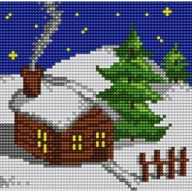 Haft krzyżykowy - do wyboru: kanwa z nadrukiem, nici Ariadna/DMC, wzór graficzny - Domek w zimowy wieczór (No 5263)