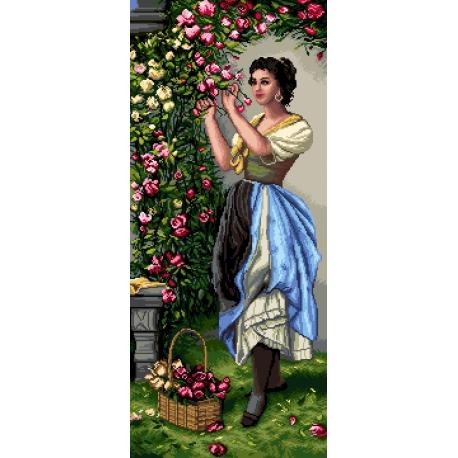 Haft krzyżykowy - do wyboru: kanwa z nadrukiem, nici Ariadna/DMC, wzór graficzny - Kobieta z kwiatami wg H. Zatzka (No 7169) VI