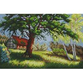 Haft krzyżykowy - do wyboru: kanwa z nadrukiem, nici Ariadna/DMC, wzór graficzny - Krajobraz z domem i drzewem (No 5264)