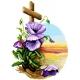 Haft krzyżykowy - do wyboru: kanwa z nadrukiem, nici Ariadna/DMC, wzór graficzny - Krzyż z kwiatami (No 7173)