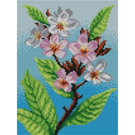 Haft krzyżykowy - do wyboru: kanwa z nadrukiem, nici Ariadna/DMC, wzór graficzny - Kwiat wiśni (No 5269) VI