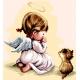 Haft krzyżykowy - do wyboru: kanwa z nadrukiem, nici Ariadna/DMC, wzór graficzny - Modlitwa - dziewczynka z kotkiem (No 7177) VI