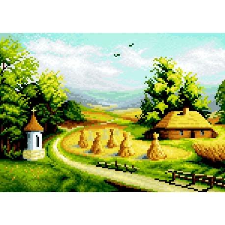 Haft krzyżykowy - do wyboru: kanwa z nadrukiem, nici Ariadna/DMC, wzór graficzny - 4 pory roku - lato (No 7182)