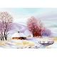 Haft krzyżykowy - do wyboru: kanwa z nadrukiem, nici Ariadna/DMC, wzór graficzny - 4 pory roku - zima (No 7184)