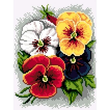 Wzór do haftu krzyżykowego Bratki (No 5464)