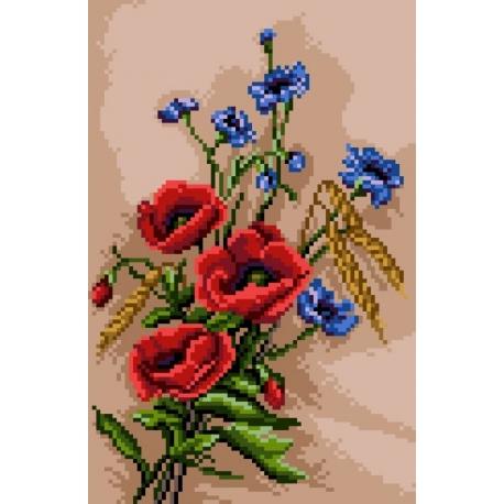Haft krzyżykowy - do wyboru: kanwa z nadrukiem, nici Ariadna/DMC, wzór graficzny - Maki z chabrami (No 5441)