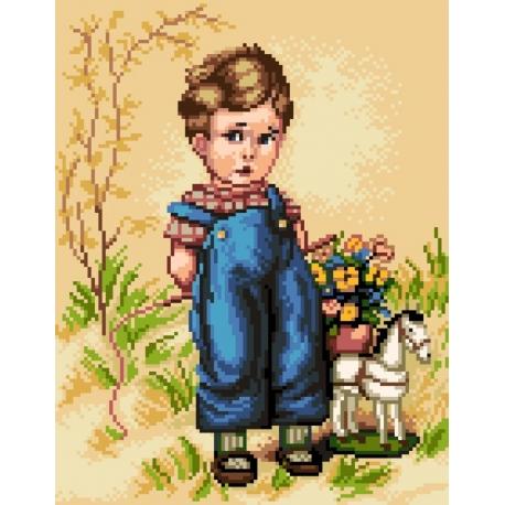 Obrazek do haftu krzyżykowego - Chłopiec (No 7190)