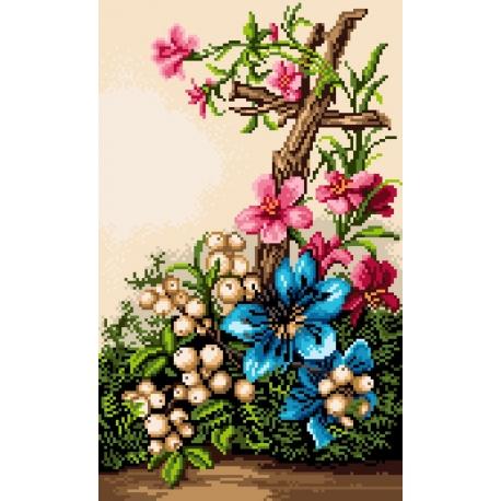 Haft krzyżykowy - do wyboru: kanwa z nadrukiem, nici Ariadna/DMC, wzór graficzny - Krzyż w kwiatach (No 7195)
