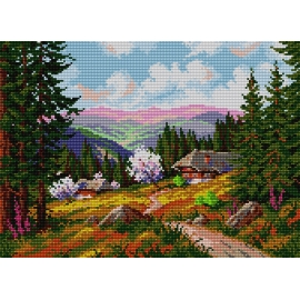 Haft krzyżykowy - do wyboru: kanwa z nadrukiem, nici Ariadna/DMC, wzór graficzny - Krajobraz górski (No 579)