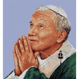Obrazek do haftu krzyżykowego - kanwa z nadrukiem religijna - Papież Jan Paweł 2 (No 7231)