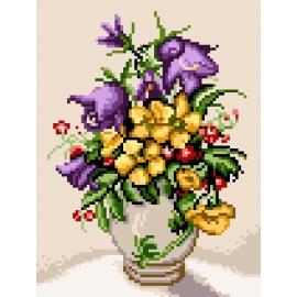 Dzwonki polne i kwiaty Bidens w wazonie - obrazek do haftowaniaKwiaty (No 5468)