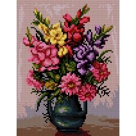 Haft krzyżykowy - do wyboru: kanwa z nadrukiem, nici Ariadna/DMC, wzór graficzny - Kwiaty w wazonie (No 5469)