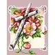 Haft krzyżykowy - do wyboru: kanwa z nadrukiem, nici Ariadna/DMC, wzór graficzny - Krzyż w kwiatach (No 5470)