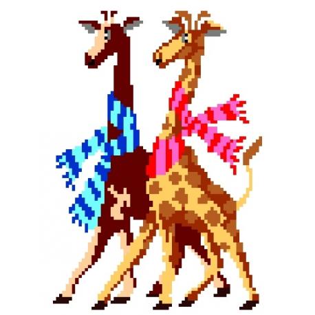 Haft krzyżykowy - do wyboru: kanwa z nadrukiem, nici Ariadna/DMC, wzór graficzny - Żyrafy (No 25)