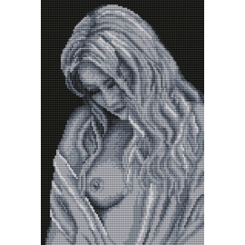 Haft krzyżykowy - do wyboru: kanwa z nadrukiem, nici Ariadna/DMC, wzór graficzny - Anielska kobieta (No 94645)