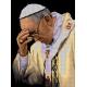 Haft krzyżykowy - do wyboru: kanwa z nadrukiem, nici Ariadna/DMC, wzór graficzny - Papież Franciszek (No 7216) VI
