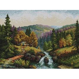 Haft krzyżykowy - do wyboru: kanwa z nadrukiem, nici Ariadna/DMC, wzór graficzny - Dolina z potokiem wg S. Sikora (No 94605) VI
