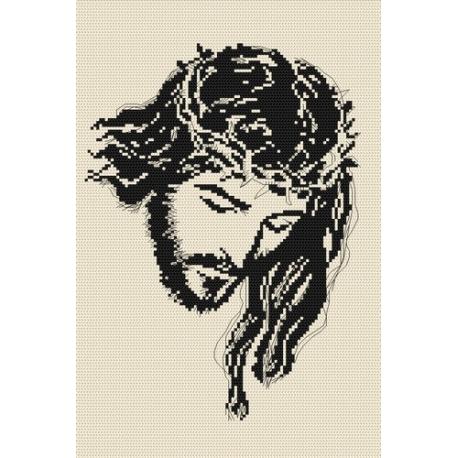 Haft krzyżykowy - do wyboru: kanwa z nadrukiem, nici Ariadna/DMC, wzór graficzny - Jezus (No 4000)