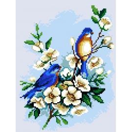 Haft krzyżykowy - do wyboru: kanwa z nadrukiem, nici Ariadna/DMC, wzór graficzny - Ptaszki na gałęzi (No 7155)