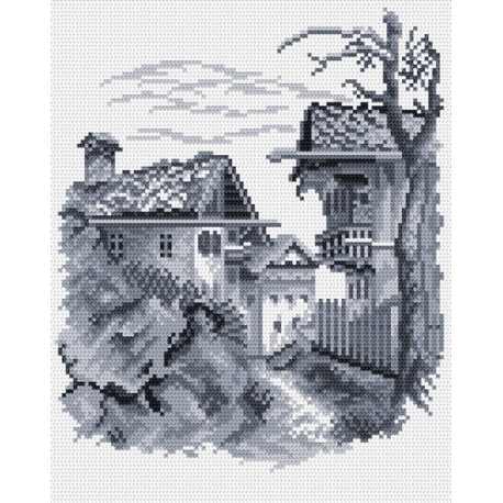 Haft krzyżykowy - do wyboru: kanwa z nadrukiem, nici Ariadna/DMC, wzór graficzny - Miasteczko (No 94068)