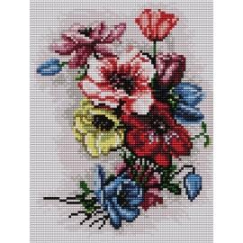 Haft krzyżykowy - do wyboru: kanwa z nadrukiem, nici Ariadna/DMC, wzór graficzny - Polne kwiaty (No 5473)
