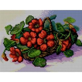 Haft krzyżykowy - do wyboru: kanwa z nadrukiem, nici Ariadna/DMC, wzór graficzny - Kwiaty w koszyku (No 5474)