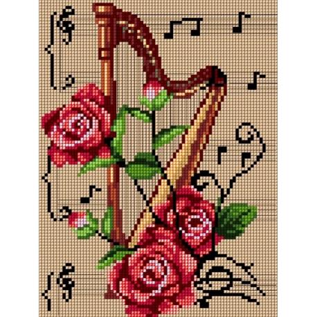 Haft krzyżykowy - do wyboru: kanwa z nadrukiem, nici Ariadna/DMC, wzór graficzny - Harfa (No 5476)
