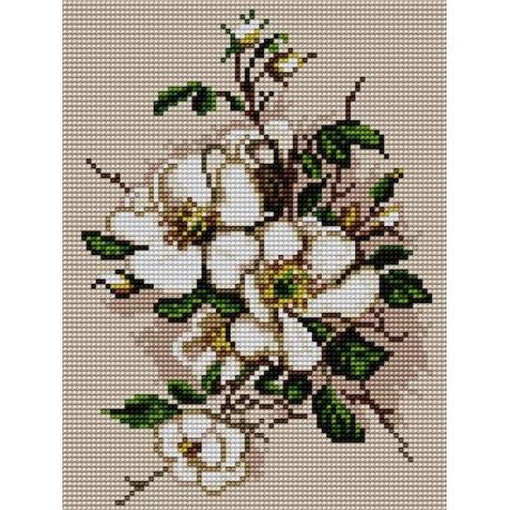 Haft krzyżykowy - do wyboru: kanwa z nadrukiem, nici Ariadna/DMC, wzór graficzny - Kwiat jabłoni (No 5477)