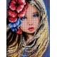 Haft krzyżykowy - wybór: kanwa z nadrukiem, nici Ariadna/DMC, wzór graficzny - Dziewczynka z kwiatami we włosach (No 5497) VI