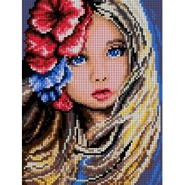 Haft krzyżykowy - do wyboru: kanwa z nadrukiem, nici Ariadna/DMC, wzór graficzny - Dziewczynka z kwiatami we włosach (No 5497)