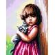 Haft krzyżykowy - do wyboru: kanwa z nadrukiem, nici Ariadna/DMC, wzór graficzny - Dziewczynka z kotkiem (No 5498)