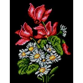 Haft krzyżykowy - do wyboru: kanwa z nadrukiem, nici Ariadna/DMC, wzór graficzny - Kwiaty - bukiet (No 5491)