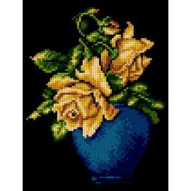 Haft krzyżykowy - do wyboru: kanwa z nadrukiem, nici Ariadna/DMC, wzór graficzny - Róże w wazonie (No 5492)