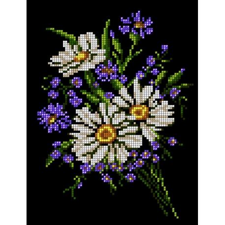 Haft krzyżykowy - do wyboru: kanwa z nadrukiem, nici Ariadna/DMC, wzór graficzny - Bukiet kwiatów (No 5493)