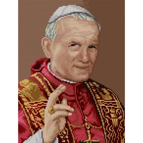 Haft krzyżykowy - do wyboru: kanwa z nadrukiem, nici Ariadna/DMC, wzór graficzny - Papież Jan Paweł II (No 7206)