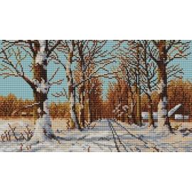 Haft krzyżykowy - do wyboru: kanwa z nadrukiem, nici Ariadna/DMC, wzór graficzny - Droga wśród drzew (No 94124)