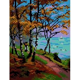 Haft krzyżykowy - do wyboru: kanwa z nadrukiem, nici Ariadna/DMC, wzór graficzny - Pejzaż jesienny (No 5488)