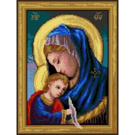 Haft krzyżykowy - do wyboru: kanwa z nadrukiem, nici Ariadna/DMC, wzór graficzny - Maryja z dzieciątkiem (No 7237)
