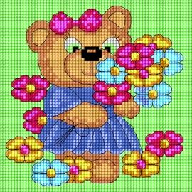 Haft krzyżykowy - do wyboru: kanwa z nadrukiem, nici Ariadna/DMC, wzór graficzny - Dziewczynka - miś z kwiatkami (No 5662)