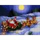 Haft krzyżykowy - do wyboru: kanwa z nadrukiem, nici Ariadna/DMC, wzór graficzny - Święty Mikołaj na saniach (No 5803)